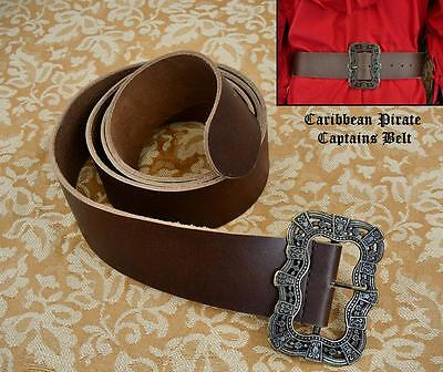 Brown Leather Long Wide Pirate Waist Belt Perfect For Costume Re-enactment LARP