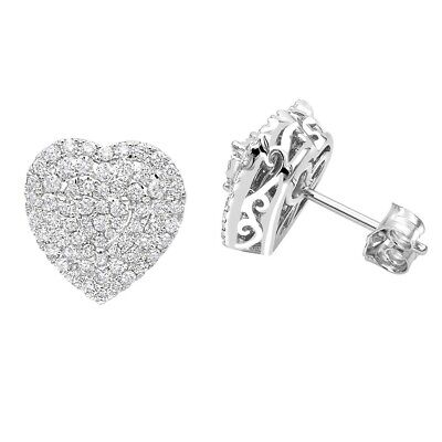 3Ct Round Cut Diamond Heart Shape Cluster Halo Stud Earrings 14K White Gold Over