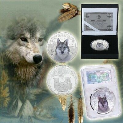 WR Snow Wolf Silver Iron Coins Commemorative Coins With Creative Gifts Box