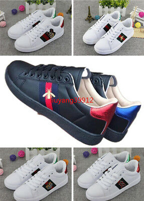 37a2f7b99ed New Women s White Running Flat Shoes Leather Embroidered Sneakers