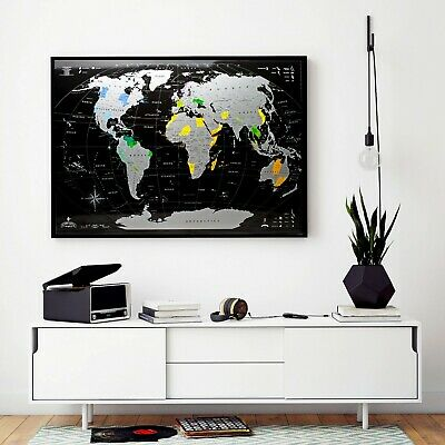 Deluxe Silver Black World Scratch off Map,Personal travel map, Push pin map