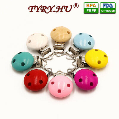 2PCs Wooden Clip Holder for Baby Infant Pacifier Chain Soother Dummy Nipple