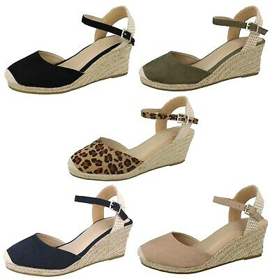 Womens Strappy Hessian Wedge Sandals Ladies Summer Shoes Espadrilles Size