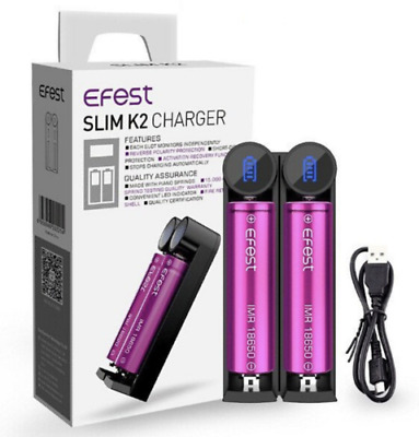 Efest SLIM K2 Dual Battery Charger 18650 20700 21700 Authentic Fast Charge UK