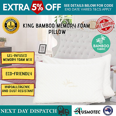 2 X King Bamboo Memory Foam Adjustable Infused Thickness Pillow Gel Twin Pack