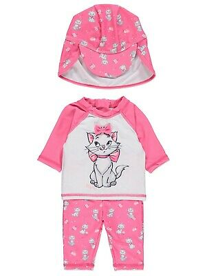 Girls Disney Aristocats Marie Sun Protection Swimsuit and Hat Set Pink NEW BNWT