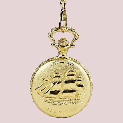 Gold Yacht U.s.s. Constitution Pocket Watch (New)