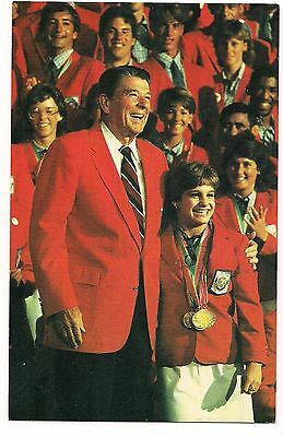 President RONALD REAGAN POSTCARD US Olympics MARY LOU RETTON 1984