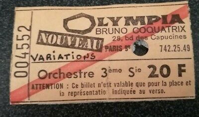 used ticket billet place concert france paris olympia THE VARIATIONS 1976