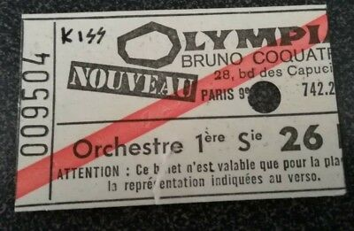 used ticket billet place concert france paris olympia KISS 22-05-1976