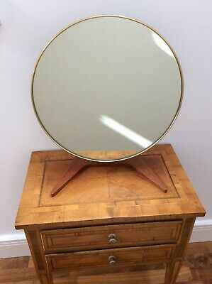 Rowley Gallery Mid-Century Modern Freestanding Mahogany Based Round Mirror