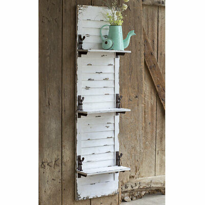 Country, Primitive, Farmhouse Large Wood Window Shutter Hanging Wall Shelf