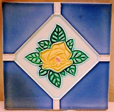 Tile Vintage Porcelain Majolica Art Nouveau Dk Japan Architecture Collectible#82
