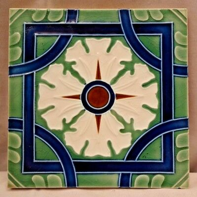 Vinatge Art Nouveau Majolica Ceramic Glazed Tiles Geometric Saji Japan Old #460