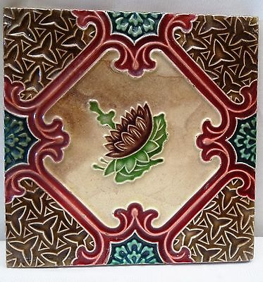 Tile Ceramic Porcelain Vintage Art Nouveau Lotus Brown Color Geometric Japan # 8