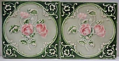 Majolica Tile Vintage Art Nouveau Ceramic Glazed Saji Japan Rose Flowers Old#474