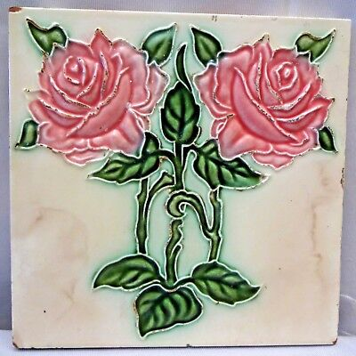Tile Japan Art Dk Art Nouveau Majolica Vintage Two Rose Design Collectibles # 64