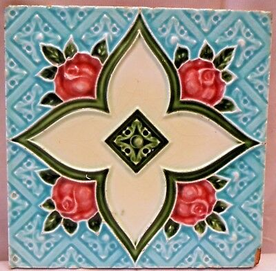 Tile Vintage Porcelain Majolica Art Nouveau England Architecture Collectibles#81