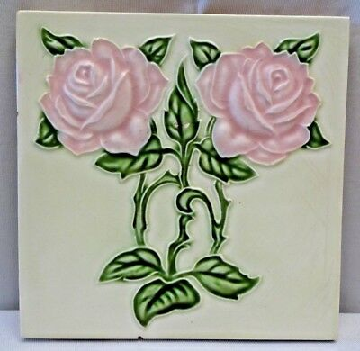 Tile Majolica Japan Red Rose Vintage Art Nouveau Ceramic Porcelain M.g.k Old#238