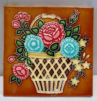 Antique Tile Ceramic Porcelain Flower Pot Design Saji Tile Works Japan Collectib