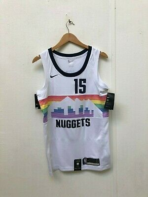 on sale 89be9 3a26a NIKE MEN'S NBA Denver Nuggets City Jersey - Small - Jokic 15 - White - New