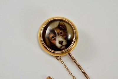 William Essex Painted Enamel Miniature Signed Dated 1863 Gold Stick Pin