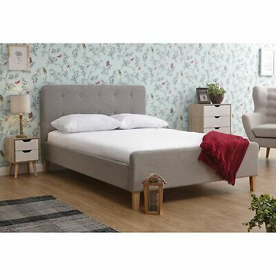 Light Grey Hopsack Fabric Retro 5ft King Size Bed Modern Buttoned Headboard