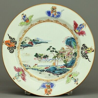 A fine famille rose immortals plate -  Qianlong or Jiaqing period - 18th century