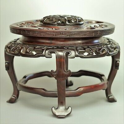 Very large chinese carved hardwood incense burner stand- Early 20th century