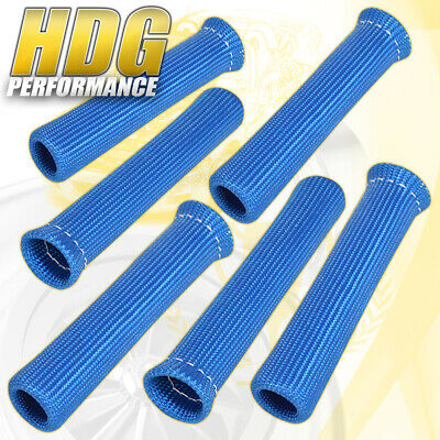 For Scion 6 Piece High Temp Spark Plug Wire Boot Heat Shield Blanket Unit Blue