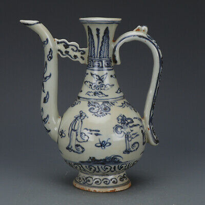 """8"""" China antique Porcelain Blue & white hand painting characters wine pot Vase"""