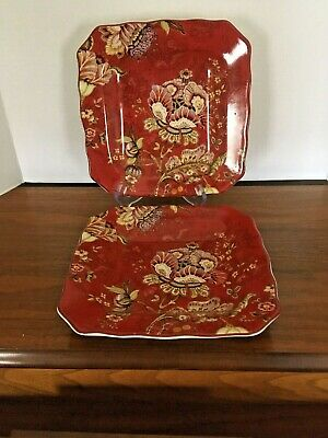 New! 222 Fifth GABRIELLE Red Square Salad Plates - Set of 2