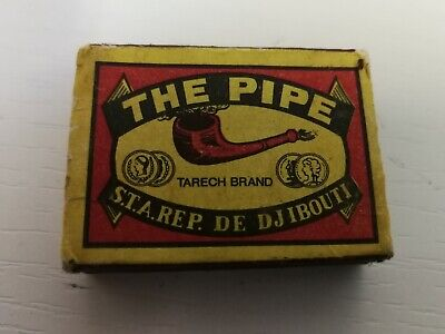 Scatola Fiammiferi Matchbox Vintage The Pipe S.t.a.rep. De Djibouti