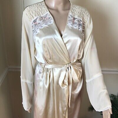 4c9947268b Madison Studio Intimates Long Cream Ivory Boho Rose Embroidered Satin Robe  XL