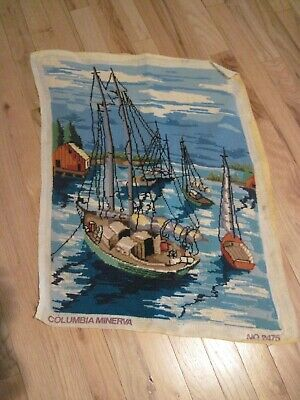 Antique Vintage Ship Scenery Victorian Needlepoint Handmade Wool Tapestry