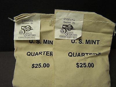 2002 Indiana State Quarters P&D Set Mint Sewn Bags