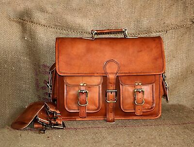 Vintage Real Leather Messenger Shoulder Men Satchel Laptop School Briefcase Bag
