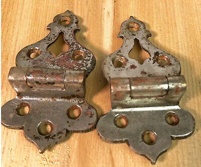 "Vintage Pair Chrome Metal Icebox 3 hole 7/16"" Offset Hinges 3.58"" Hinge"