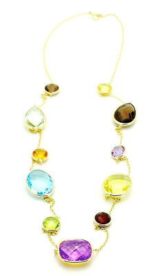 14K Yellow Gold Multi-Colored Gemstone Necklace With A Pear Shape Drop 16 Inches