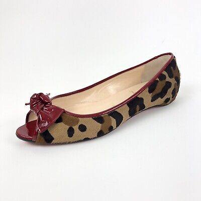 finest selection e611d 503b3 CHRISTIAN LOUBOUTIN LEOPARD Print Calf Hair Patent Peeptoe Flats Shoe |  Women 36