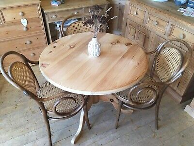 Solid pine small round table and chairs x 3 Antique Thonet bentwood bistro set