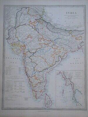Hand Coloured c1845 Victorian SDUK Map of India - Antique Indian, Asian - 77
