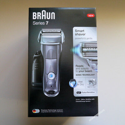 BRAUN Series 7 GREY 7865cc Mens Electric Foil Shaver Wet & Dry,Clean & Charge X9