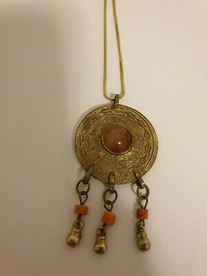 Ottoman Old Necklace Antique Coins Amber Bedouin Bronze 19c And Islamic Folklore