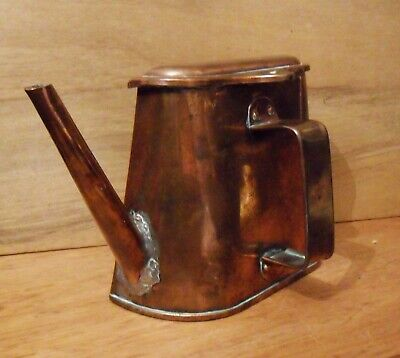 Antique Copper Half Kettle Unusual Flat Backed Boat Barge 19th c