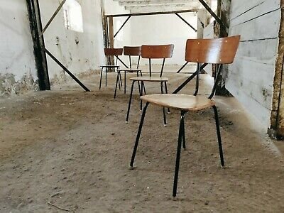 Set of 4 Vintage French School Chairs, Mid-century Stacking Seating