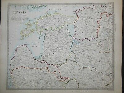 Hand Coloured c1845 Victorian SDUK Map, Russia in Europe III, Estonia Russian 56
