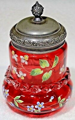 Antique Victorian Moser Enameled Cranberry Glass Pickle Jar w/ Silver Lid