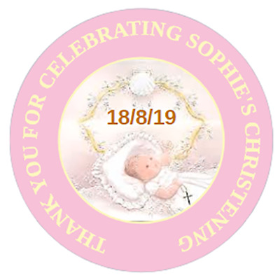 48 Personalised Christening Baptism Stickers Pink or Blue  40mm Labels