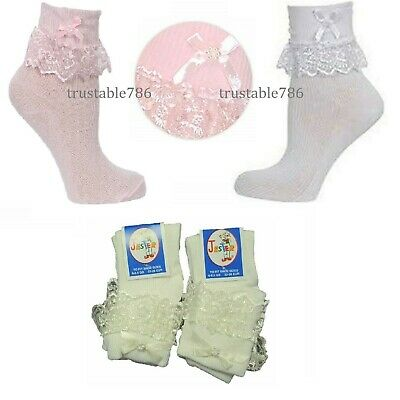 1/3/6/ X Pairs Girls Frilly Lace Ankle Socks in Black,White,Cream,Pink Footwear